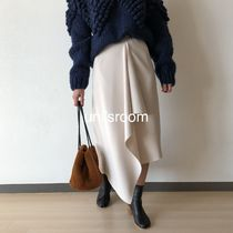 Flared Skirts Casual Style Plain Medium Long Party Style