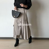 Flared Skirts Casual Style Wool Long Midi Office Style