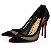 Christian Louboutin Suede Blended Fabrics Plain Pin Heels Elegant Style