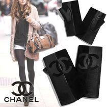 CHANEL Blended Fabrics Plain Leather Logo