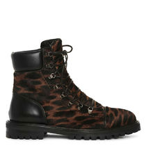 Azzedine Alaia Leopard Patterns Plain Toe Rubber Sole Lace-up Spawn Skin