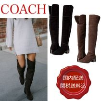 Coach Plain Leather Block Heels Party Style Over-the-Knee Boots
