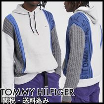 Tommy Hilfiger Cable Knit Pullovers Unisex Blended Fabrics Street Style
