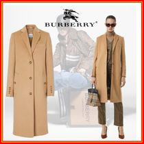 Burberry Wool Cashmere Plain Medium Long Office Style Elegant Style
