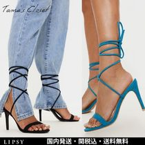 Lipsy Open Toe Lace-up Casual Style Plain Pin Heels Elegant Style