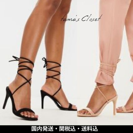 Open Toe Lace-up Casual Style Plain Pin Heels Elegant Style