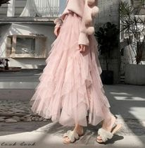 Flared Skirts Chiffon Long Party Style Elegant Style Tired
