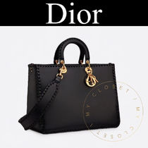 Christian Dior LADY DIOR Casual Style Calfskin Street Style A4 2WAY Plain Leather
