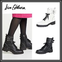 Sam Edelman Round Toe Rubber Sole Casual Style Studded Plain Leather