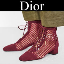 Christian Dior Lace-up Casual Style Suede Blended Fabrics Plain Block Heels