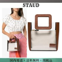 STAUD Plain Leather Crystal Clear Bags PVC Clothing Totes