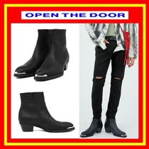 OPEN THE DOOR Street Style Plain Leather Boots