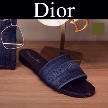 Christian Dior DWAY Monogram Open Toe Casual Style Blended Fabrics Street Style