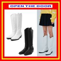 OPEN THE DOOR Street Style Plain Leather Boots Boots