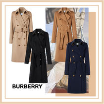Burberry Casual Style Wool Cashmere Nylon Plain Long Party Style