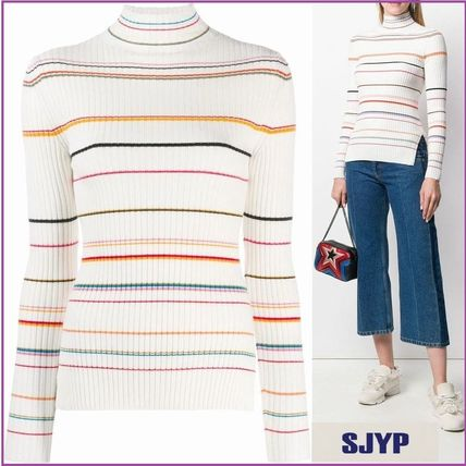 Stripes Casual Style Rib Long Sleeves V-neck & Crew neck