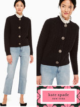 kate spade new york Cable Knit Casual Style Wool Long Sleeves Plain Medium