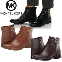 Michael Kors Plain Leather Elegant Style Ankle & Booties Boots