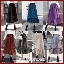 Flared Skirts Casual Style Velvet Pleated Skirts Plain