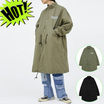 OPEN THE DOOR Unisex Street Style Plain Long Oversized Parkas