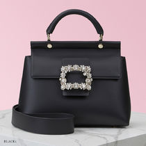 Roger Vivier Casual Style Blended Fabrics 2WAY Plain Leather Party Style