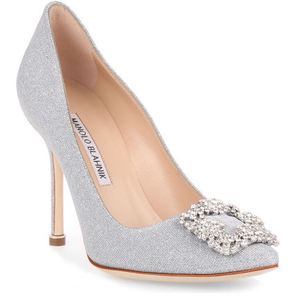 Blended Fabrics Plain Leather Pin Heels With Jewels