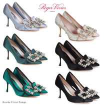 Roger Vivier Blended Fabrics Plain Pin Heels Party Style With Jewels