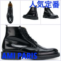 AMI ALEXANDRE MATTIUSSI Blended Fabrics Street Style Plain Leather Special Edition