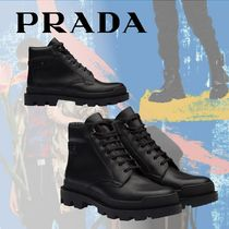 PRADA Mountain Boots Plain Leather Outdoor Boots