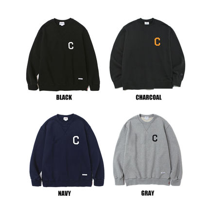 Unisex Street Style Long Sleeves Plain Logo Sweatshirts