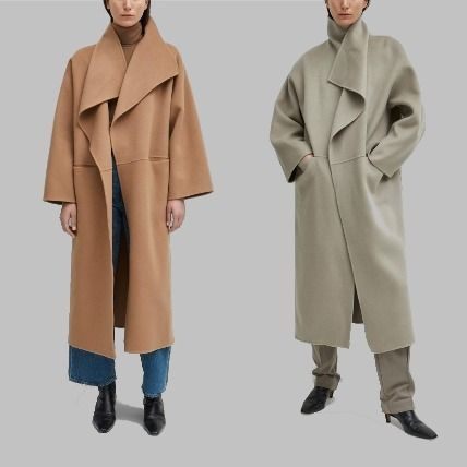 Wool Plain Oversized Coats