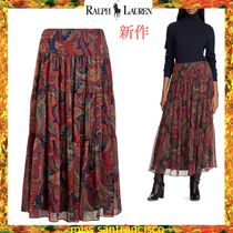 Ralph Lauren Paisley Casual Style Maxi Chiffon Long Office Style