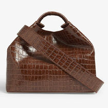 elleme Crocodile 2WAY Plain Other Animal Patterns Leather Crossbody
