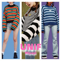 UNIF Clothing Crew Neck Short Stripes Casual Style Long Sleeves Oversized