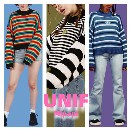 Crew Neck Short Stripes Casual Style Long Sleeves Oversized