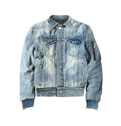 Unisex Denim Nylon Street Style Plain MA-1 Denim Jackets