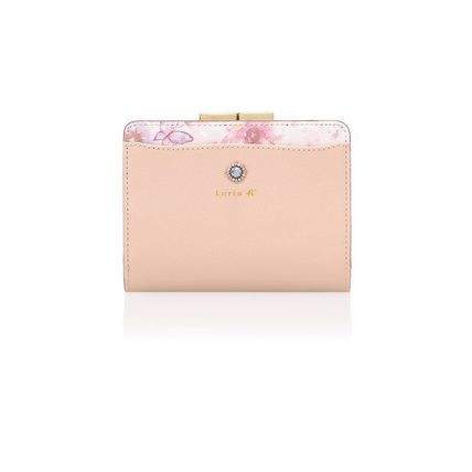 Flower Patterns Leather With Jewels Folding Wallet Logo