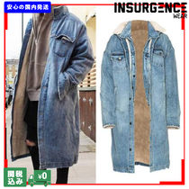 Insurgence Wear Unisex Denim Street Style Plain Long Denim Jackets Oversized