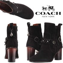 Coach Flower Patterns Round Toe Casual Style Suede Studded Plain