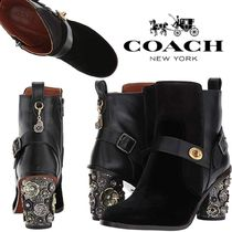 Coach Flower Patterns Round Toe Casual Style Suede Plain