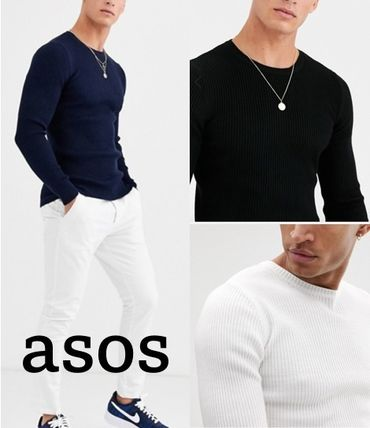 ASOS Crew Neck Long Sleeves Plain Sweaters