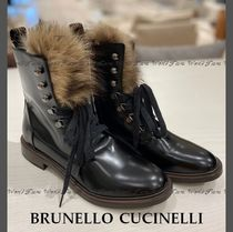 BRUNELLO CUCINELLI Round Toe Leather Boots Boots