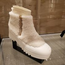 CHANEL Blended Fabrics Plain Logo Ankle & Booties Boots