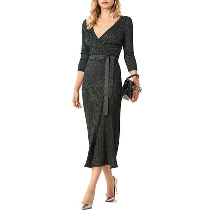 Wrap Dresses Wool Blended Fabrics V-Neck Long Sleeves Plain