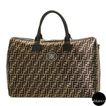 FENDI Monogram Unisex Street Style A4 2WAY Logo Boston Bags