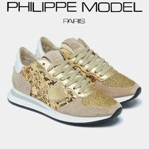 PHILIPPE MODEL PARIS Sheepskin Plain Leather Low-Top Sneakers