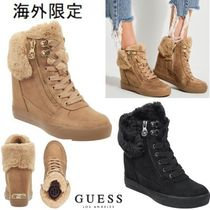 Guess Other Check Patterns Casual Style Faux Fur Blended Fabrics