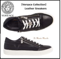 VERSACE Plain Leather Oversized Sneakers