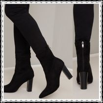 Chi Chi London Casual Style Plain Block Heels Elegant Style Boots Boots