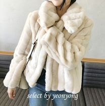 Faux Fur Plain Medium Fur Vests Cashmere & Fur Coats